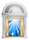 Illustration open marble door entrance blue light other side could be concept heaven afterlife Stock Photos