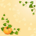 Illustration with orange pumpkin vegetable green leaves Royalty Free Stock Photo