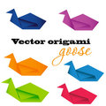 Illustration of origami goose. Vector. Royalty Free Stock Photo