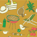 Illustration of outdoor activities like picnicking barbecue and sports on a brown background Royalty Free Stock Images