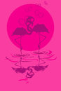 Illustration with pair of flamingos in love at sunset or sunrise Royalty Free Stock Photo
