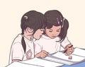 Illustration of pair of little girls coloring in kinder garden in color