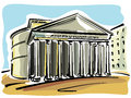 Illustration of the pantheon on rome Royalty Free Stock Images