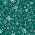 Illustration,  pattern. image of snowflakes, winter. blue green background, white outline for the Christmas cards, packaging Royalty Free Stock Photo