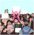 Illustration of peaceful crowd protest with children and elderly with blank signs