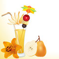 Illustration pear juice glass flower Royalty Free Stock Photos