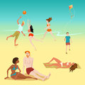 Illustration of people relaxing on the beach. Boy with a kite. Young people playing volleyball. Sunbathing people. Royalty Free Stock Photo