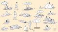 Illustration of people relaxing and sunbathing on beach