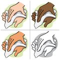 Illustration of a person wiping and wiping his hands with a paper towel or napkin, ethnic Royalty Free Stock Photo