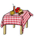Illustration of a picnic table with food on it isolated white Royalty Free Stock Photos