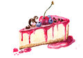 An illustration of a piece of cheesecake watercolor dessert Royalty Free Stock Images