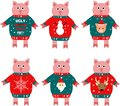 Illustration of a piggy new year symbol in a sweater.