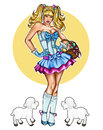 Illustration of pin up dressed up for Easter festivity