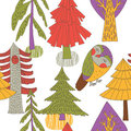 Illustration of pine trees, owl Royalty Free Stock Photos