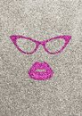 Illustration of pink lips and glasses on silver glittery background. Royalty Free Stock Photo