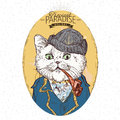 Illustration of pirate cat a on blue background in vector Royalty Free Stock Image