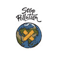 Illustration of Planet Earth and Stop Pollution Lettering