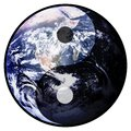 Illustration planet earth yin yang symbol Stock Photo