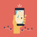 Illustration plate de navigation mobile de gps Photos stock