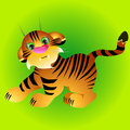 Illustration of playful tiger cub Royalty Free Stock Photo