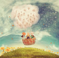Illustration playing children balloon Royalty Free Stock Images