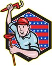 Illustration of a plumber with monkey wrench done in cartoon style set inside hexagon with stars and stripes on isolated Royalty Free Stock Image