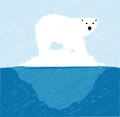 Illustration polar bear top iceberg Royalty Free Stock Images