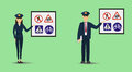 Illustration of a policeman and policewoman showing signage. Police people teaching road signs.