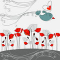 Illustration of poppies and bird in love Stock Photography