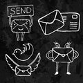 Illustration of postal and mail icons - doodle sketch style. Social media icon Royalty Free Stock Photo