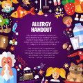 Illustration of poster with flat design allergen vector pattern icons and infographics elements allergy handout Royalty Free Stock Photos