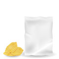 Illustration of potato chips with mock up bag. Royalty Free Stock Photo