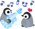The illustration of pretty penguin babies Royalty Free Stock Photo
