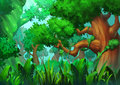 Illustration: The Primeval Green Forest. Royalty Free Stock Photo
