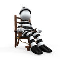 Illustration of a prisoner in an electric chair on white background d render Stock Photos