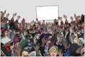 Illustration of protesting crowd with raised hands and blank sign in color