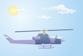 Illustration purple helicopter flying under clouds sunny day Royalty Free Stock Photo
