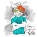 Illustration of rabbit hipster dressed up in t-shirt, pants and  in the glasses and headphones. Vector illustration. Royalty Free Stock Photo