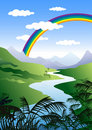 Illustration of Rainbow in green landscape Royalty Free Stock Photos
