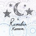 Illustration of Ramadan kareem hand drawn calligraphy with beautiful mandala circles background for traditional card .
