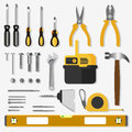 Illustration realistic set of building tools on flat design