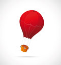 Illustration red air baloon grey backdrop Stock Photo