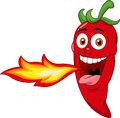 Illustration red chili cartoon character creathing fire Stock Photography