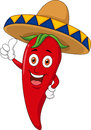 Illustration red chili cartoon character thumb up Stock Image