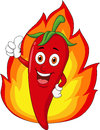 Illustration red chili cartoon thumb up flame background Royalty Free Stock Photo