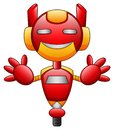 Red robot cartoon character isolated on white background