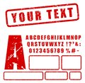 Red stamp letters and numbers set Royalty Free Stock Photo