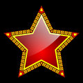 Illustration of the red star on a black background Stock Image