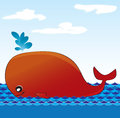 Illustration red whale water Stock Images