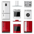 Illustration red and white home appliances, kitchen